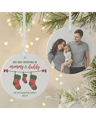 First Christmas as Parents Photo Ornament - Matte