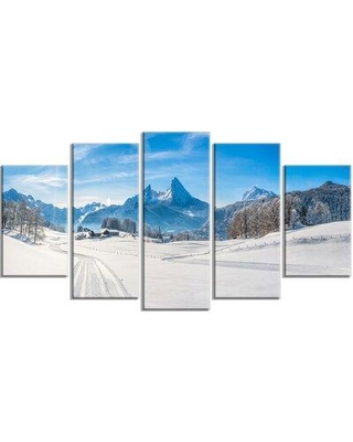 Design Art 'Winter in Bavarian Alps Panorama' Photographic Print Multi-Piece Image on Canvas EAOU4698