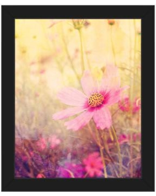 """Click Wall Art Cosmos Flowers Framed Photographic Print on Canvas FLR0000008FRM Format: Black Framed Size: 22.5"""" H x 18.5"""" W"""