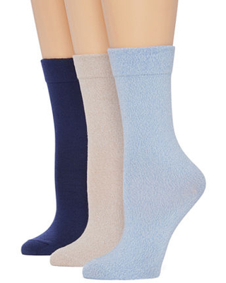 Mixit 3 Pair Crew Socks Womens, 4-10 , Multiple Colors