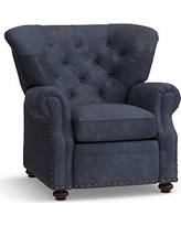 Lansing Leather Swivel Recliner, Polyester Wrapped Cushions, Statesville Indigo Blue