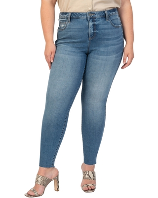 KUT from the Kloth Donna High Waist Raw Hem Ankle Skinny Jeans, Size 16W in Studious at Nordstrom