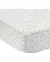 Lambs /& Ivy Tickles Fitted Crib Sheet White//Tan//Brown