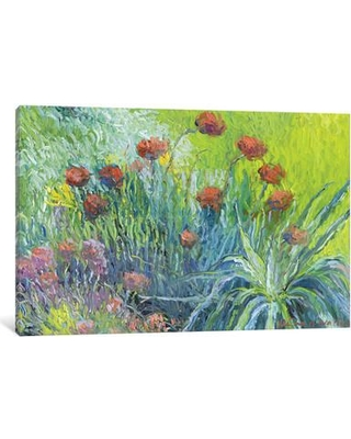 """Charlton Home® Art Flowers I Painting Print on Wrapped Canvas, Canvas & Fabric in Brown/Blue/Green, Size 12"""" H x 18"""" W x 0.75"""" D 