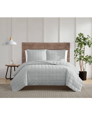 3pc King Silver Cool Quilt Set Gray - Truly Calm