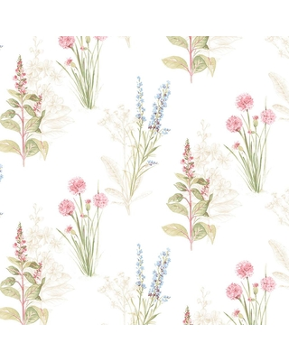 Norwall Norwall Flora Wallpaper Cream Blue Pink From Home Depot Real Simple