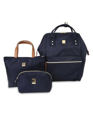 J World Posy Backpack With Travel Tote And Pouch, Navy