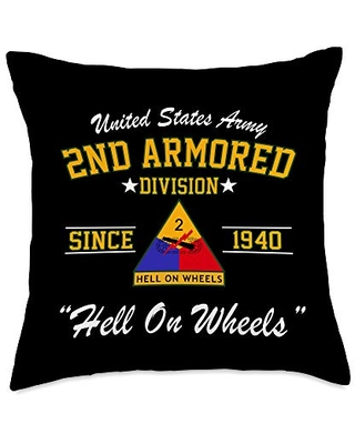 US Army 2nd Armored Division Throw Pillow, 18x18, Multicolor
