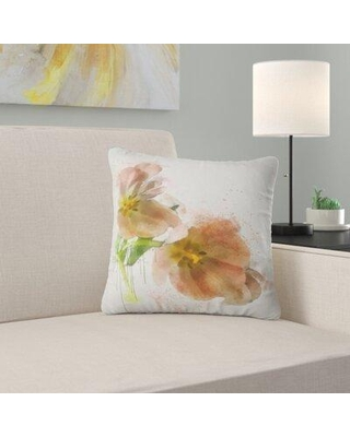 """East Urban Home Floral Tulips Sketch Watercolor Pillow FUSI5521 Size: 16"""" x 16"""" Product Type: Throw Pillow"""