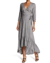 LOVESTITCH Plaid Belted Wrap Maxi Dress, Size Large in Ivory/Black at Nordstrom Rack