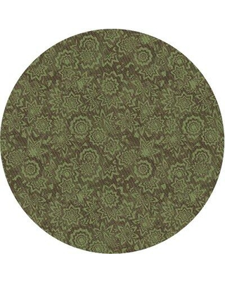 East Urban Home Lazarus Floral Wool Green Area Rug W001011195 Rug Size: Round 4'
