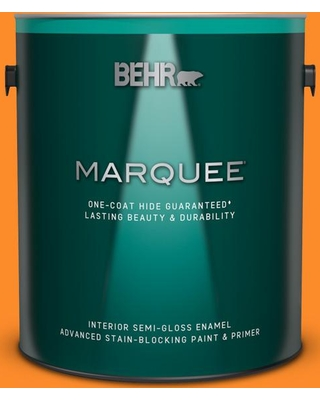 BEHR MARQUEE 1 gal. #S-G-280 Mango Madness Semi-Gloss Enamel Interior Paint and Primer in One