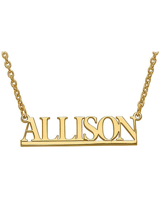 Personalized 9x34mm Underlined Name Necklace, One Size , Yellow