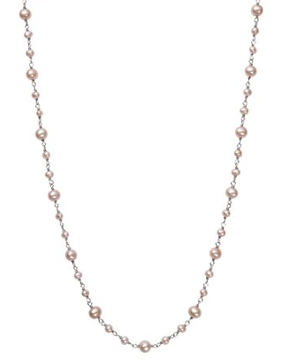 Cultured Freshwater Natural Pink Pearl and Sterling Silver Tin Cup Necklace, 18""