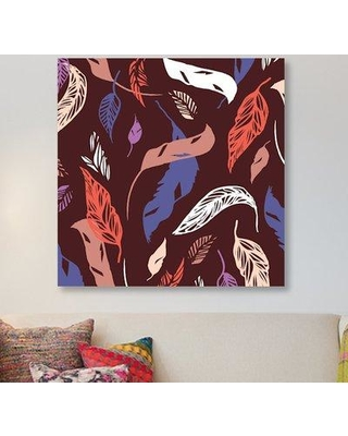"""East Urban Home 'Feather Toss' Graphic Art Print on Canvas ESUR3730 Size: 37"""" H x 37"""" W x 1.5"""" D"""