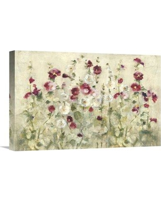 "East Urban Home 'Hollyhocks Row Cool' Print EUHE3551 Size: 16"" H x 24"" W Format: Wrapped Canvas"