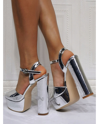 Milanoo Sexy Sandals For Woman Silver PU Leather Open Toe Chunky Heel Sky High Heel Sandals