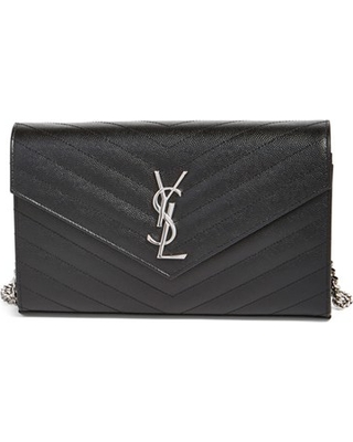Women's Saint Laurent Monogram Quilted Leather Wallet On A Chain - Black