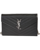 Women's Saint Laurent 'Monogram' Wallet On A Chain - Black