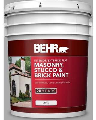 BEHR 5 gal. #N520-3 Flannel Gray Flat Interior/Exterior Masonry, Stucco and Brick Paint