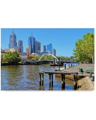 "Trademark Art 'Melbourne Lake' Photographic Print on Wrapped Canvas ALI35989-CGG Size: 16"" H x 24"" W x 2"" D"