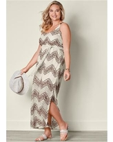 """""""Plus Size Belted Maxi Dress Dresses - Multi/brown"""""""