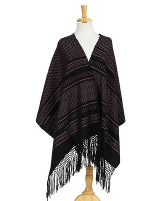Handwoven Patterned Cotton Shawl from Mexico