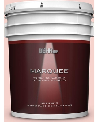 BEHR MARQUEE 5 gal. #M170-1 Pink Elephant Matte Interior Paint and Primer in One