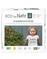 Eco by Naty, Size 4, 156 Diapers, 15-40 lbs, ONE MONTH supply, Plant-based premium ecological diaper with 0% oil plastic on skin