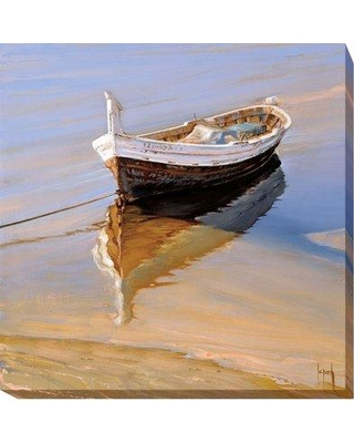 """Artistic Home Gallery 'Barcas Descansando' by Jaume Laporta Framed Painting Print on Wrapped Canvas 723CG Size: 24"""" H x 24"""" W x 1.5"""" D"""