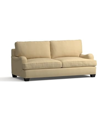 PB English Arm Upholstered Sleeper Sofa with Memory Foam Mattress, Polyester Wrapped Cushions, Performance Everydaysuede(TM) Oat