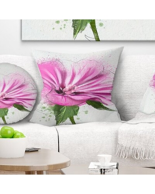 Floral Full Bloom Flower with Leaves Pillow