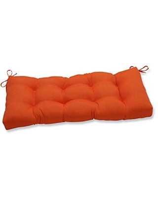 """Pillow Perfect Outdoor/Indoor Sundeck Tufted Bench/Swing Cushion, 44"""" x 18"""", Orange"""