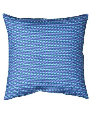 """East Urban Home Katelyn Elizabeth Stripe Diamonds Indoor/Outdoor Throw Pillow X113233348 Size: 16"""" H x 16"""" W Color: Blue/Teal"""