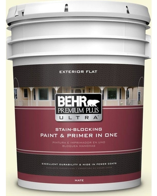 BEHR ULTRA 5 gal. #W-B-420 White Hydrangea Flat Exterior Paint and Primer in One