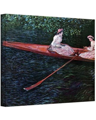 """ArtWall ''Canoe'' by Claude Monet Painting Print on Canvas Cmonet16 Size: 18"""" H x 24"""" W"""