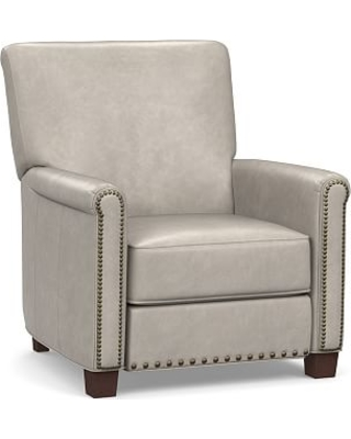 Irving Roll Arm Leather Power Recliner with Bronze Nailheads, Polyester Wrapped Cushions, Statesville Pebble