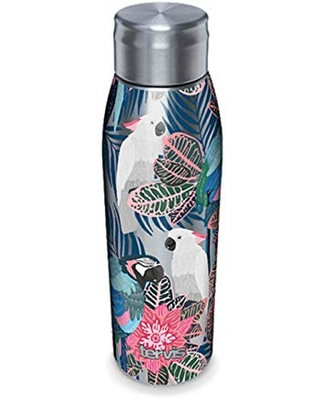 Tervis Tropical Birds Collage Double-Walled Insulated Tumbler, 17oz Water Bottle, Stainless Steel