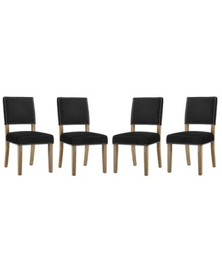 Oblige Collection EEI-3478-BLK Set of 4 Dining Chairs with Nailhead Trim Non-Marking Foot Caps Solid Natural Wood Legs and Velvet Polyester Fabric
