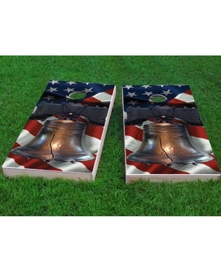 """American Flag Liberty Bell Over Cornhole Game Custom Cornhole Boards Bag Fill: All Weather Plastic Resin, Size: 48"""" H x 12"""" W"""