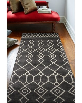 "Casey Hand-Tufted Wool Charcoal Area Rug Rug Size: Runner 2'6"" x 8'"