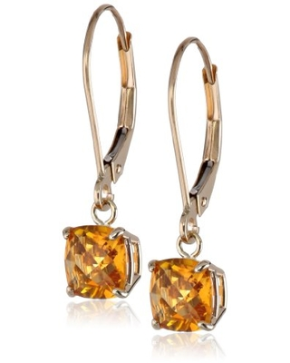 Amazon Collection 10k Yellow Gold Cushion-Cut Checkerboard Citrine Leverback Earrings (6mm)