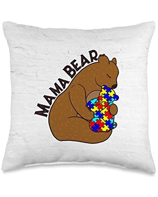 Mama Mommy Bear Autism Mom Pillow Mama Mommy Bear Mom Mother Autism Awareness Throw Pillow, 16x16, Multicolor