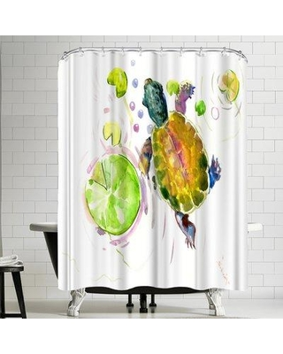 Check Out Deals On East Urban Home Suren Nersisyan Baby Turtle Lotus Single Shower Curtain Polyester In Yellow Gold Green Size Standard 72 X 72 Wayfair