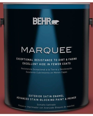 BEHR MARQUEE 1 gal. #bxc-27 Carriage Red Satin Enamel Exterior Paint and Primer in One