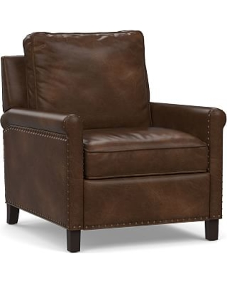 Tyler Roll Arm Leather Power Recliner with Bronze Nailheads, Down Blend Wrapped Cushions, Vintage Cocoa