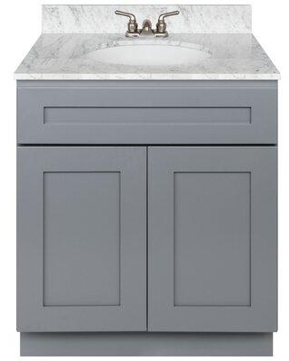 "Winston Porter Stiltner 30"" Single Vanity Cabinet Alpina White + Absolute Black Granite Top + Faucet CG298875 Base Finish: Colonial Gray Top Finish: Burlywood"