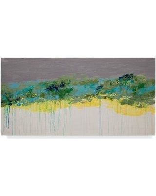 """Trademark Fine Art 'Lithosphere Yellow Stripes' Acrylic Painting Print on Wrapped Canvas ALI22947-C Size: 16"""" H x 32"""" W x 2"""" D"""