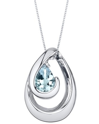 """0.5 ct Pear Shape Blue Aquamarine Pendant Necklace in Sterling Silver, 18"""""""