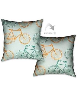 LauralHome Postcard from Europe Bikes Throw Pillow PFEB18X18DP